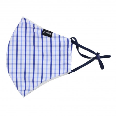 Tattersall Check Face Mask in Blue and White Flat
