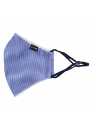 Blue and White Houndstooth Check Mask