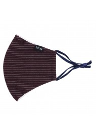 Pin Stripe Face Mask in Merlot Red Flat