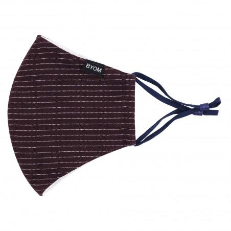 Pin Stripe Face Mask in Merlot Red Flat