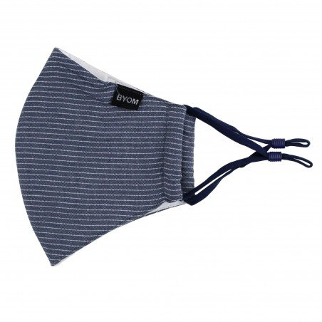 Navy Pin Striped Face Mask