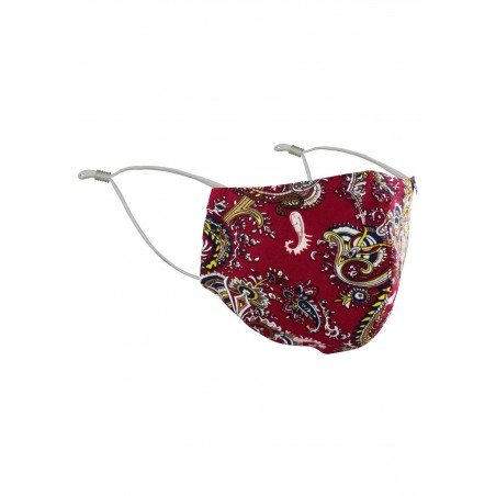 Red and Gold Paisley Face Mask