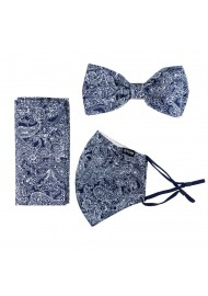 Bow Tie and Mask Set with Navy Blue Bandana Print