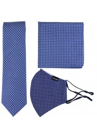 Royal Blue Skinny Tie and Face Mask Set