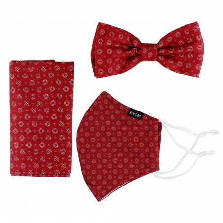 Bow Tie + Face Mask Set in Cherry Red