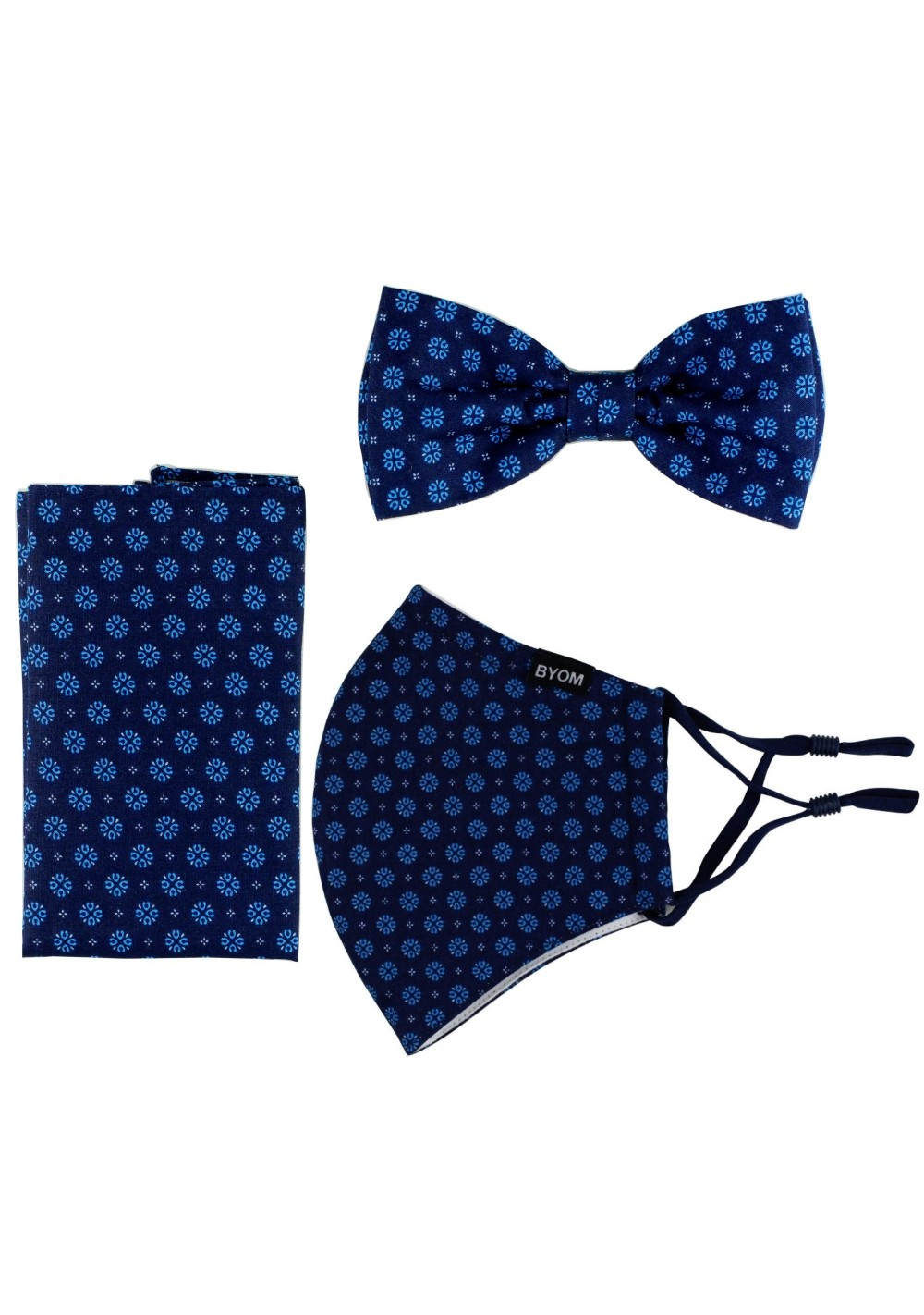 3-piece Bow Tie and Face Mask Set in Blues