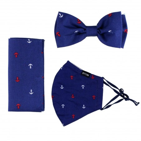 Nautical Bow Tie and Face Mask Set in Navy Blue