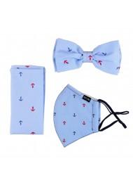 Sky Blue Anchor Print Bowtie + Face Mask Set