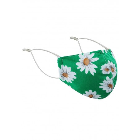 Daisy Print Face Mask in Spring Green