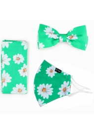 Daisy Print Bow Tie + Face Mask in Spring Green