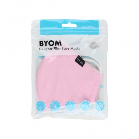 Solid Pink Cotton Filter Mask in Bag