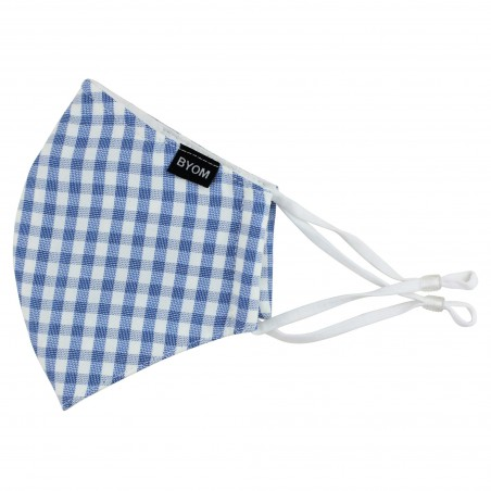 Stylish Plaid Mask in Light Blue and White