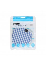 Stylish Plaid Mask in Light Blue and White in Bag