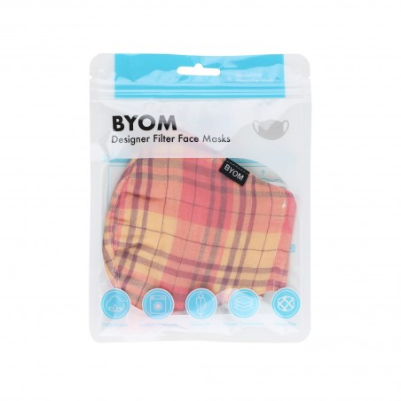 Madras Plaid Mask in Orange and Peach in Bag