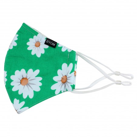 Grass Green Daisy Print Face Mask