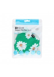 Grass Green Daisy Print Face Mask in Bag