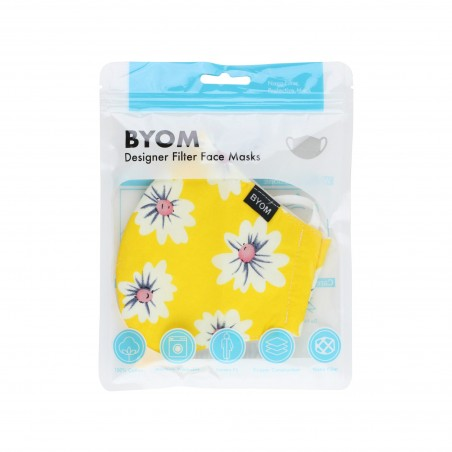 Yellow Floral Face Mask in Bag