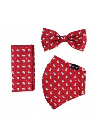 face mask bow tie set with USA print pattern in red