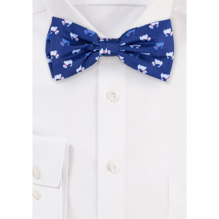 dog print bow tie in blue