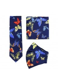 necktie and face mask set with butterfly design