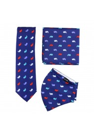 whale print mask and necktie set