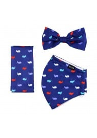 whale print mask and bowtie set