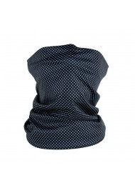 black neck gaiter with tiny micro dots