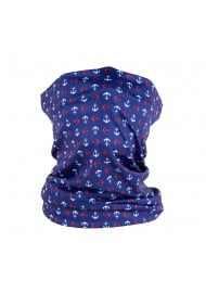 anchor print neck gaiter in royal blue, white and red