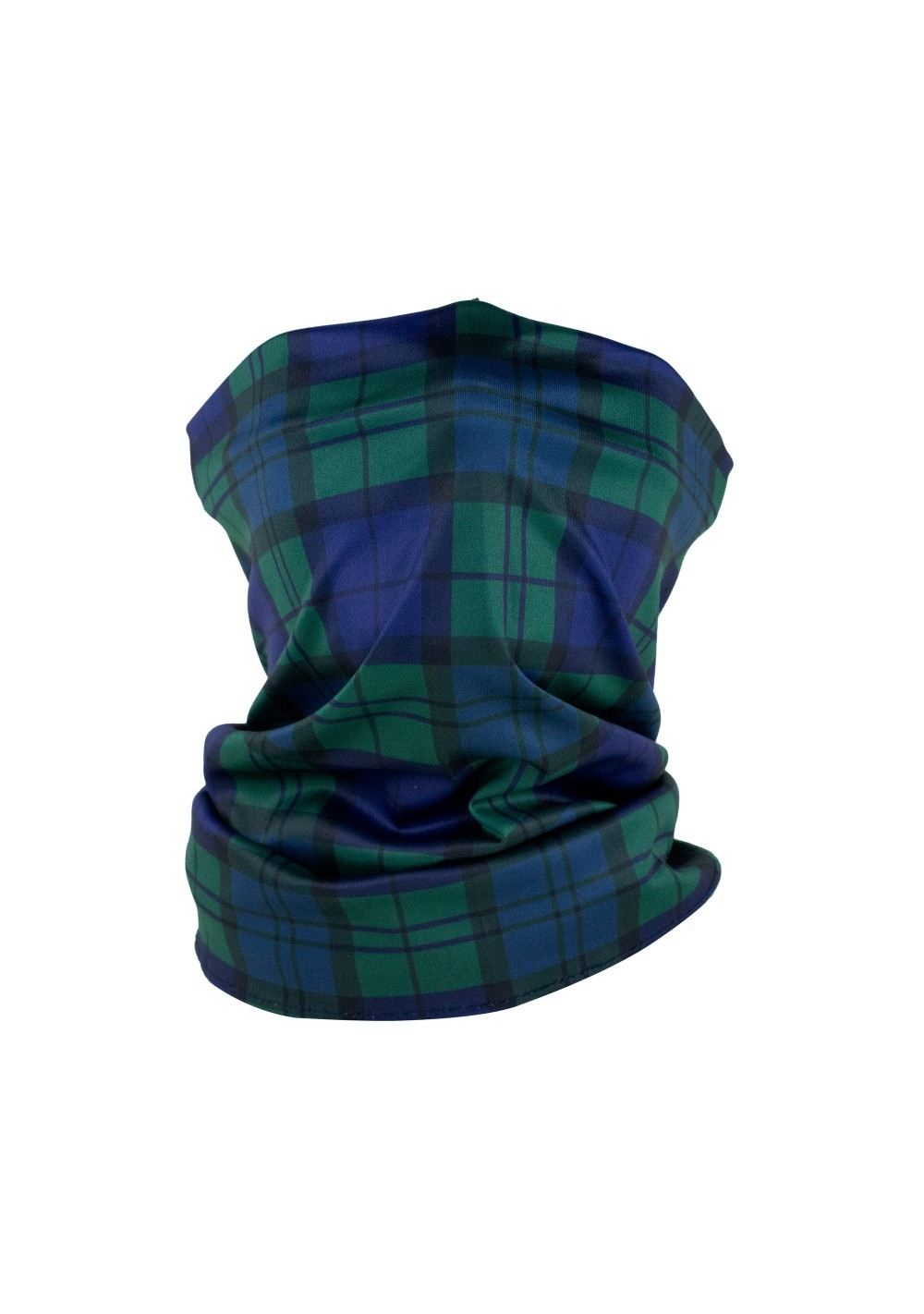 tartan plaid neck gaiter mask in navy and hunter green