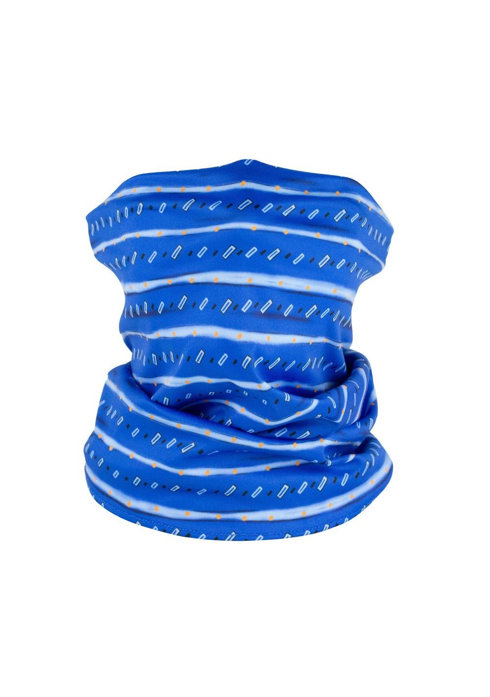 geometric striped neck gaiter mask in bright royal blue