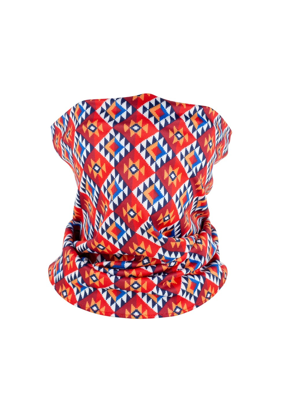 neck gaiter in red and orange tribal print