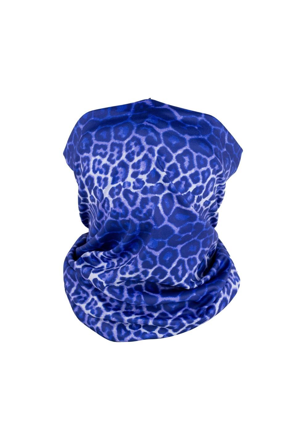Leopard print neck gaiter mask in tie dye blue