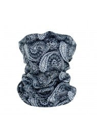 gray and black paisley designer neck gaiter mask
