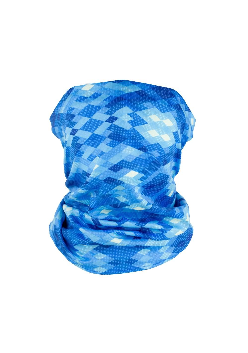 aqua blue graphic argyle print neck gaiter mask