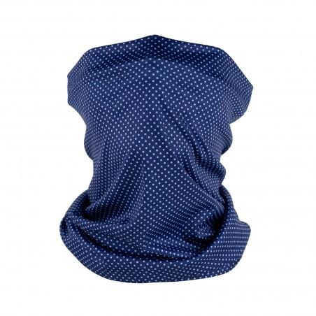 micro dot print neck gaiter in navy blue