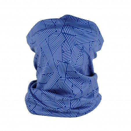 cool graphic print neck gaiter in blue