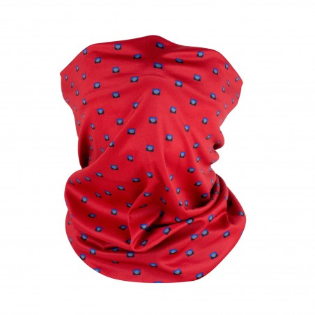 cherry red geometric print neck gaiter