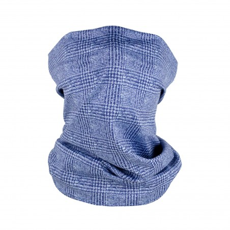 blue prince of wales check neck gaiter