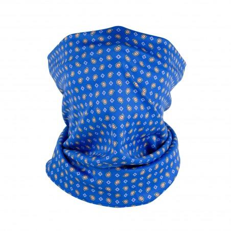 blue and orange paisley neck gaiter