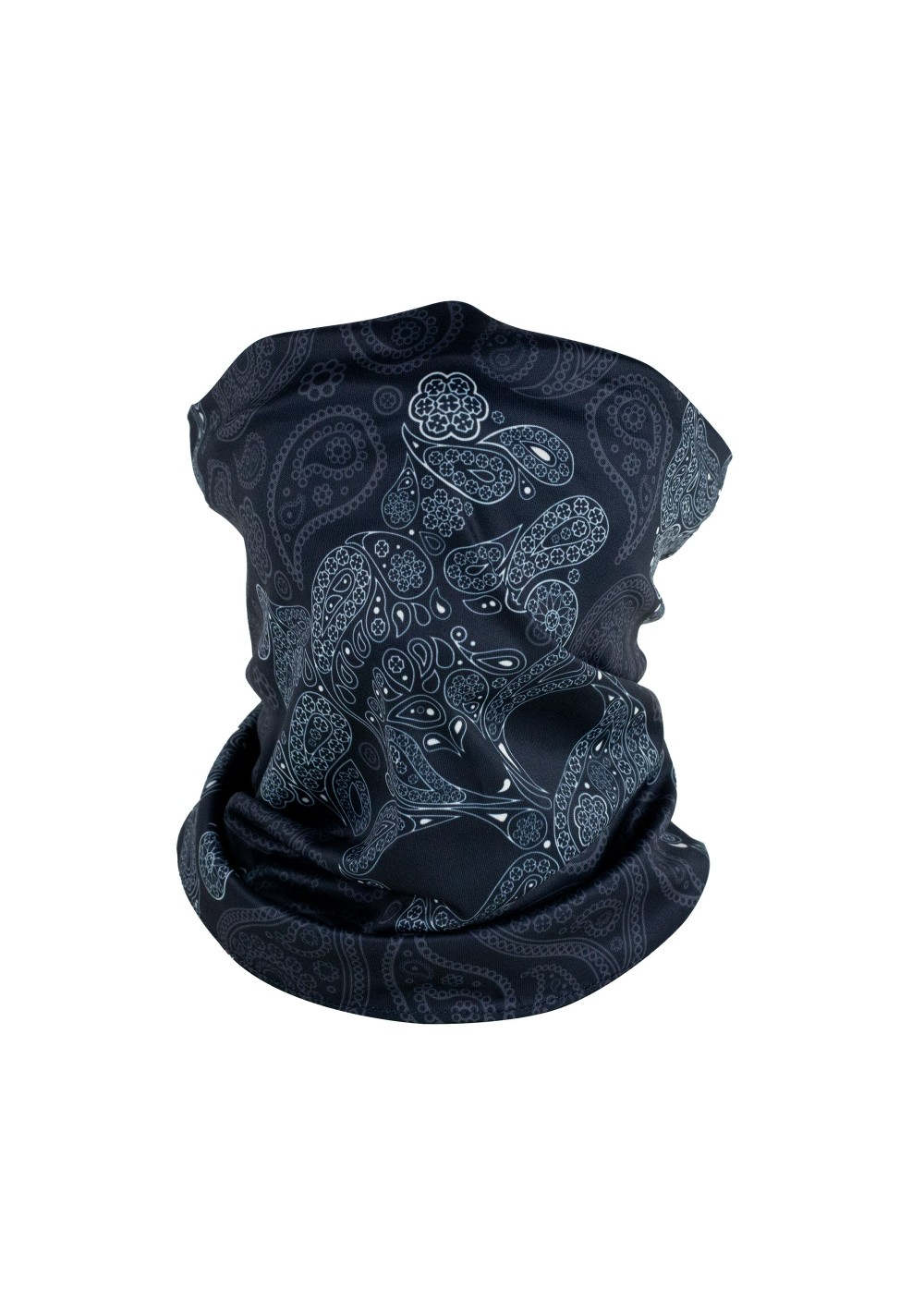 skull print neck gaiter in black and charcoal gray