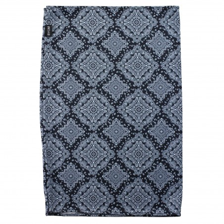 medallion print neck gaiter in gray