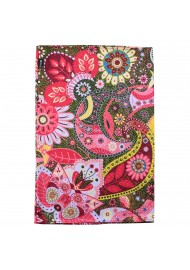 colorful flower print neck gaiter in pink and gold