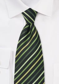 Green and Black Striped Tie