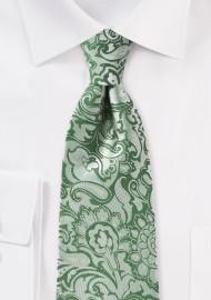 XL Paisley Tie in Clover Green