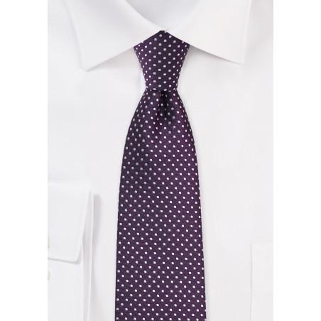 Eggplant Purple Pin Dot Tie