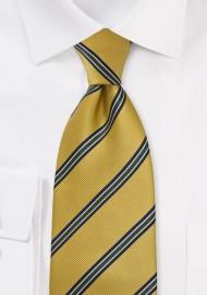 Golden Yellow Repp Striped Kids Tie