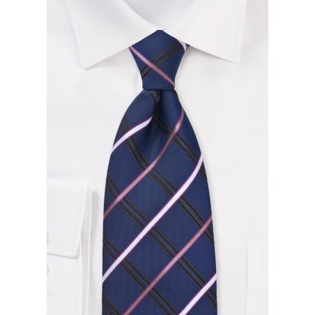Navy Blue Checkered Necktie