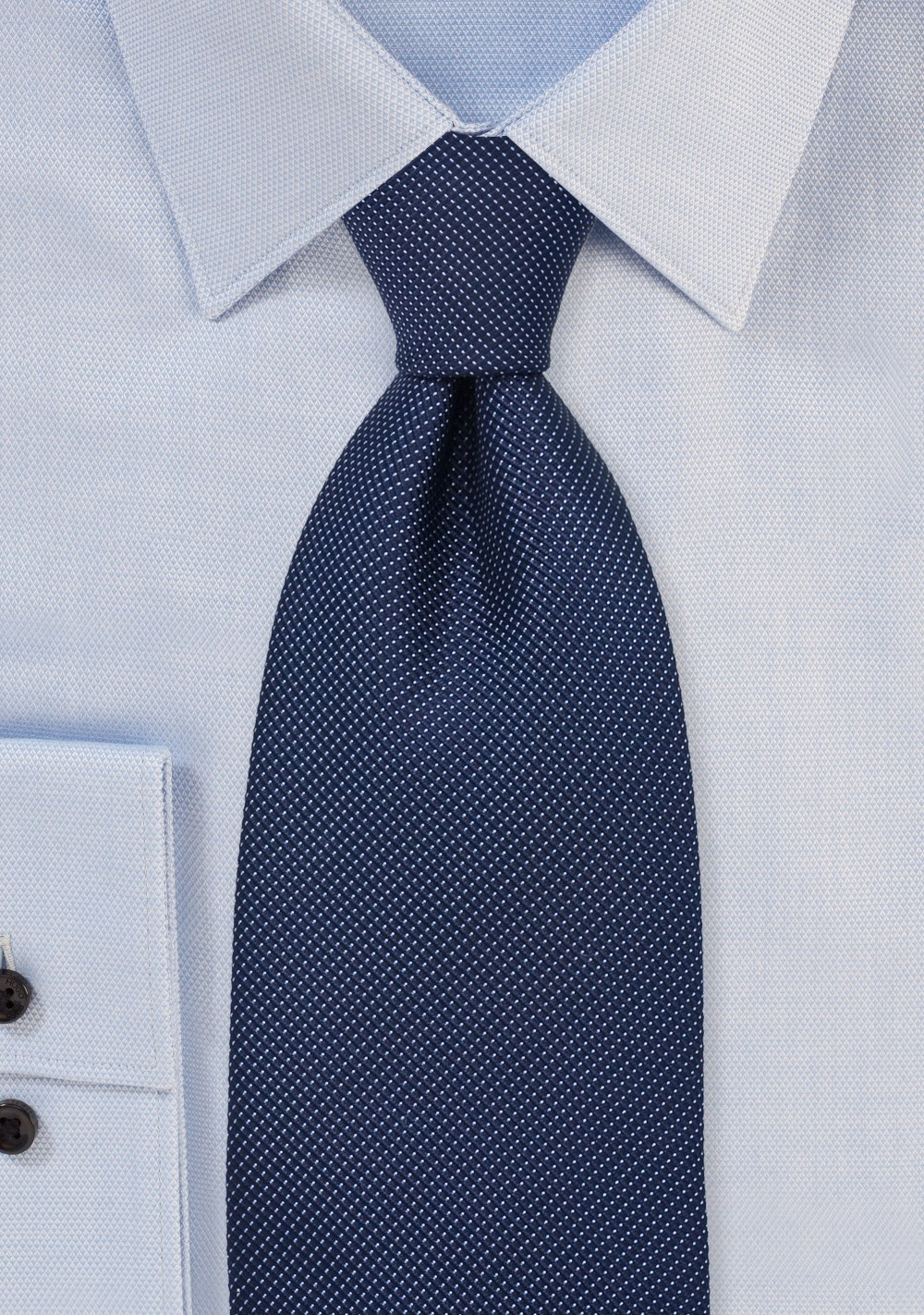 Navy Blue Pique Silk Tie