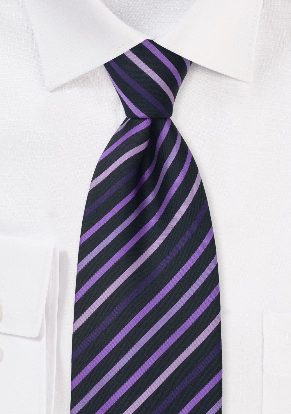 Striped Tie in Pink, Lavender, Purple, and Black