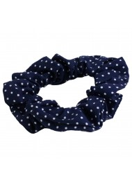 navy pin dot scrunchie